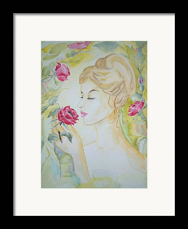 Roses Flowers Framed Print featuring the painting Stop And Smell The Roses by Irenemaria Amoroso