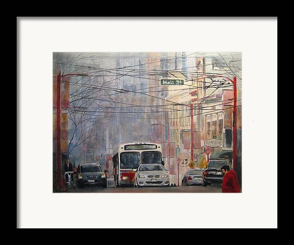 Bus Framed Print featuring the painting Stop Light by Victoria Heryet