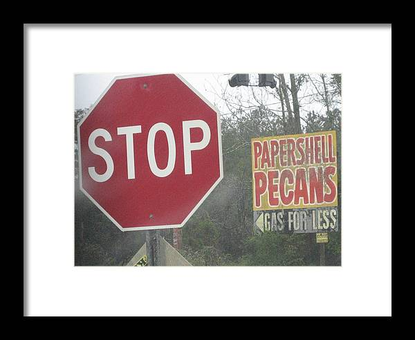 Landscape Framed Print featuring the photograph Stop Paper Shell Pecans Gas For Less by Stephen Hawks