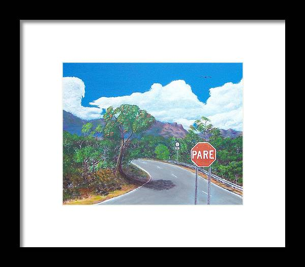 Landscape Framed Print featuring the painting Stop Sign by Tony Rodriguez