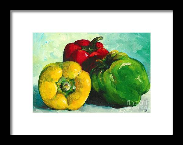 Vegetables Framed Print featuring the painting Stoplight by Linda Vespasian