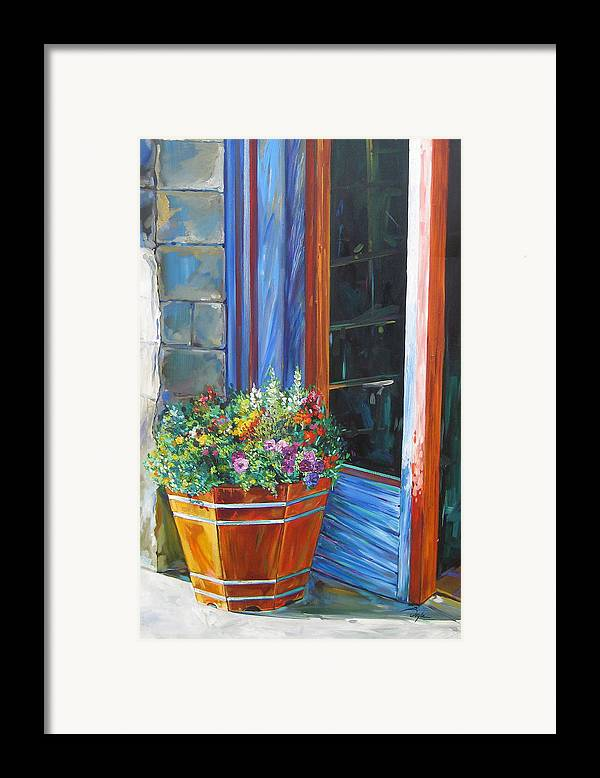 Pansy Framed Print featuring the painting Stopping At An Entryway by Karen Doyle