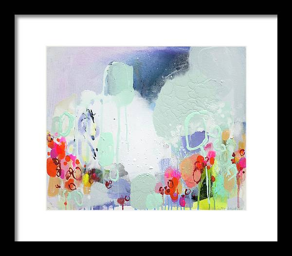 Abstract Framed Print featuring the painting Stories by Claire Desjardins