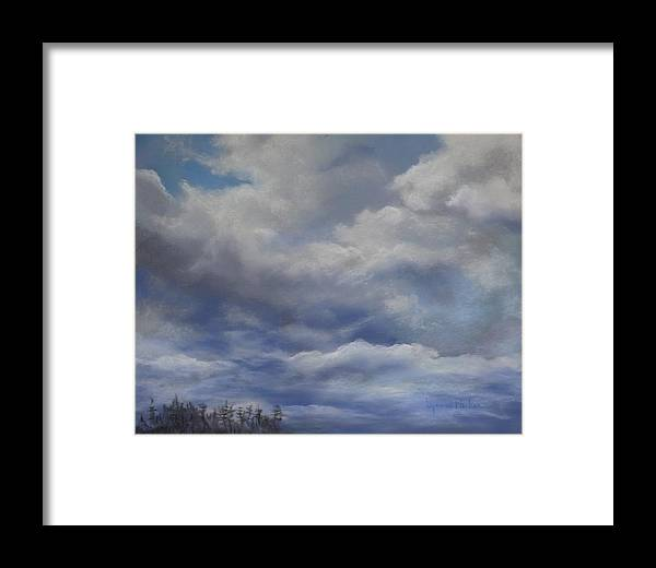 Cloud Scape Framed Print featuring the painting Storm A Brewing by Lynne Parker