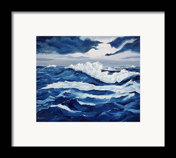 Sea Scapes Framed Print featuring the painting Storm At Sea by Lorraine Foster