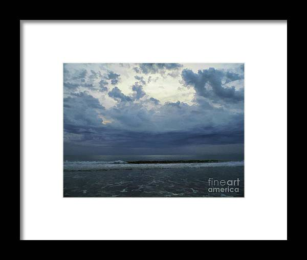 Sunrise Framed Print featuring the photograph Storm Clouds At The Beach by D Hackett