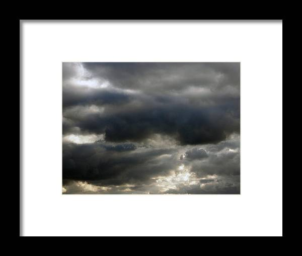 Clouds Framed Print featuring the painting Storm Clouds by Deb JAZI Raulerson