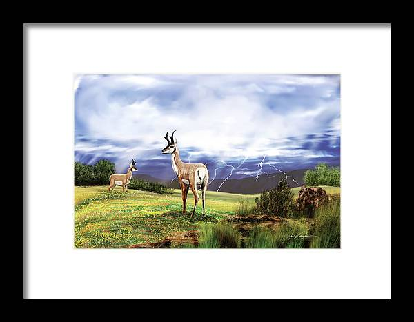 Animals; Landscape; Antelope; Antlers; Trees Framed Print featuring the painting Storm Front by Jan Baughman