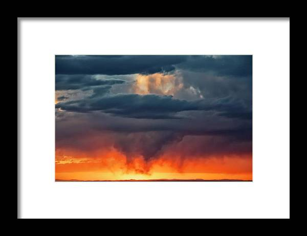 Nature Framed Print featuring the photograph Storm Light Beam, Albuquerque, New Mexico by Zayne Diamond Photographic