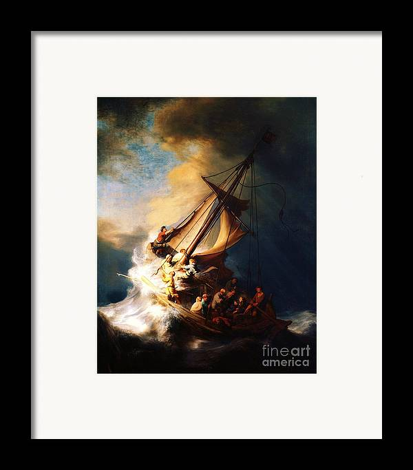 Pd Framed Print featuring the painting Storm On The Sea Of Galilee by Pg Reproductions