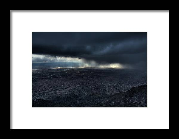 Landscape Framed Print featuring the photograph Storm Over Alburquerque by Max Witjes