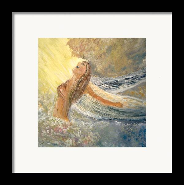 She Reaches The Top Throws Back Her Wings And Sings Framed Print featuring the painting Storm Song by J Bauer