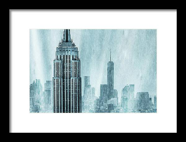 Empire State Building Framed Print featuring the digital art Storm Troopers by Az Jackson