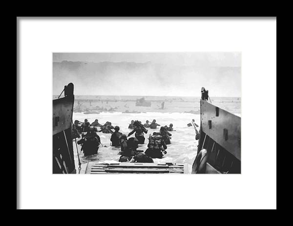 D Day Framed Print featuring the painting Storming The Beach On D-Day by War Is Hell Store