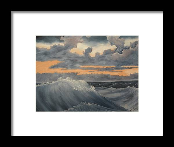 Ocean Framed Print featuring the painting Storms by Ron Sargent