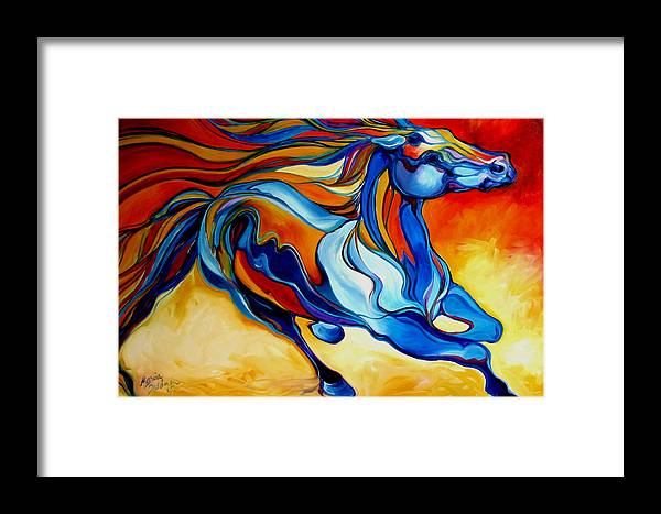 Horse Framed Print featuring the painting Stormy An Equine Abstract Southwest by Marcia Baldwin