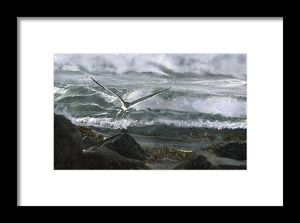 Framed Print featuring the painting Stormy Flight 2 by Charles Parks