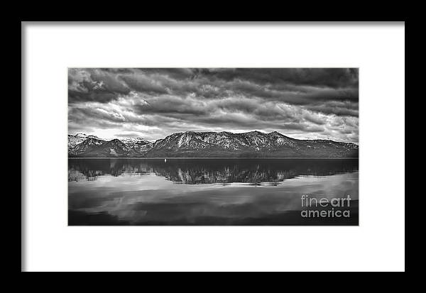 Stormy Lake Tahoe Black And White Framed Print featuring the photograph Stormy Lake Tahoe Black And White by Mitch Shindelbower