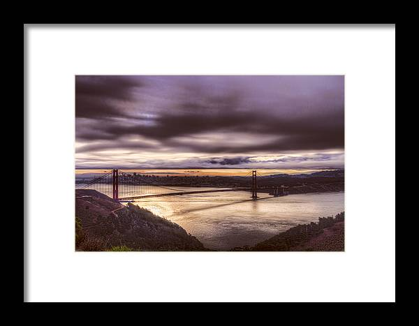 Bridge Framed Print featuring the photograph Stormy Morning Sf Bay Bridge by Bruce Bottomley