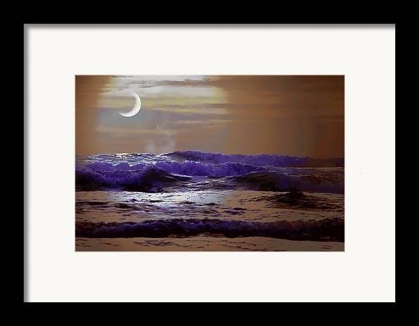 Sea Framed Print featuring the photograph Stormy Night by Aaron Berg