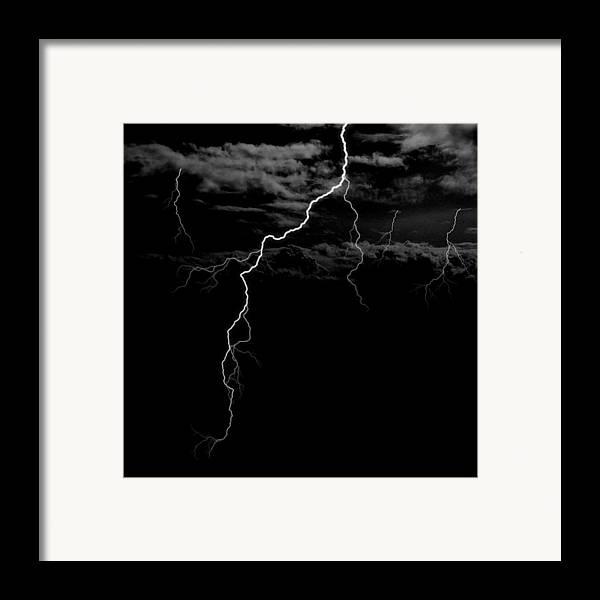 Lightning Framed Print featuring the digital art Stormy Night by Brad Scott