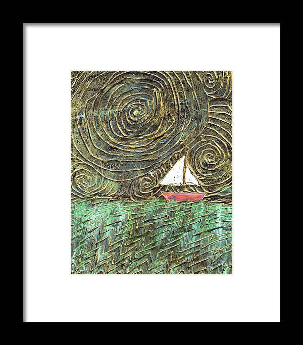 Storm Framed Print featuring the painting Stormy Night by Wayne Potrafka