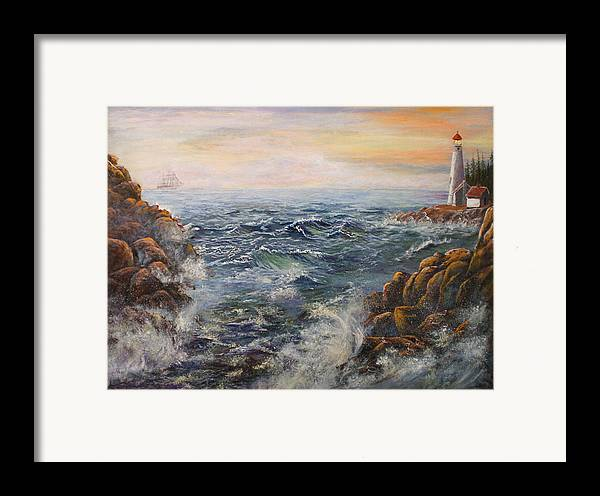 Seascape Framed Print featuring the painting Stormy Pacific by Lucille Owen-Huston