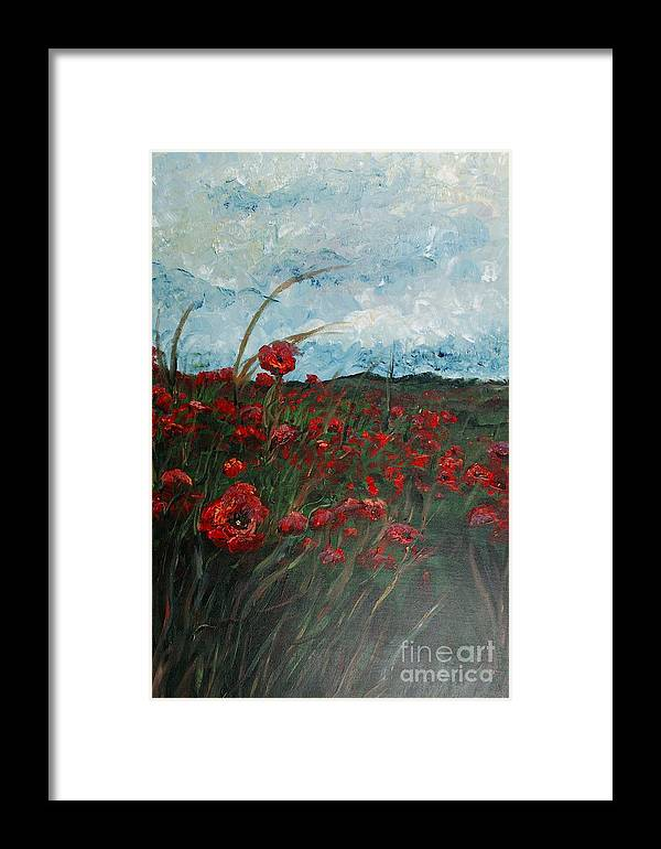 Poppies Framed Print featuring the painting Stormy Poppies by Nadine Rippelmeyer