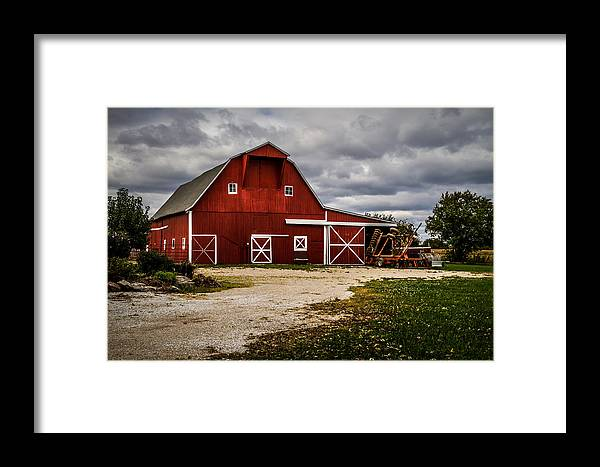 Barn Framed Print featuring the photograph Stormy Red Barn by Ron Pate