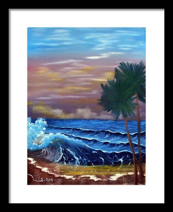 Seascape Framed Print featuring the painting Stormy Seas by Ervin Sloan