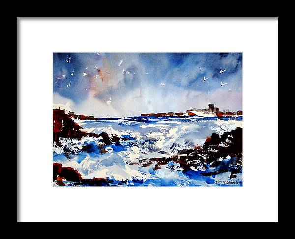 Seascape Framed Print featuring the painting Stormy Skelligs by Wilfred McOstrich