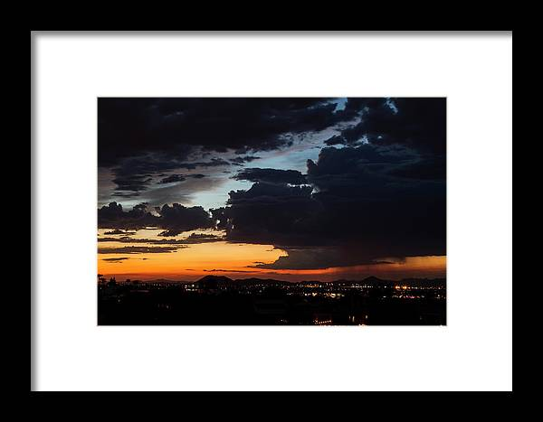 Arizona Framed Print featuring the photograph Stormy Sunset by Cathy Franklin