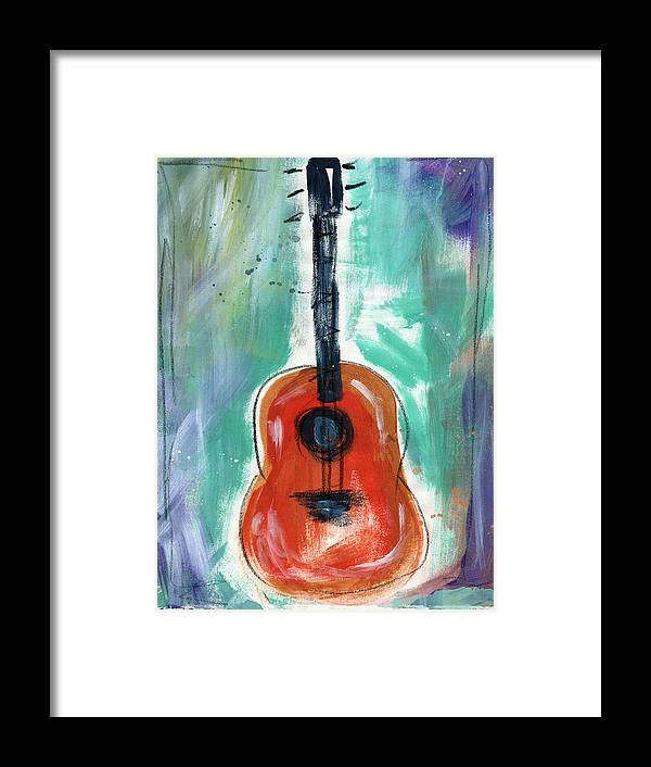 Guitar Framed Print featuring the painting Storyteller's Guitar by Linda Woods