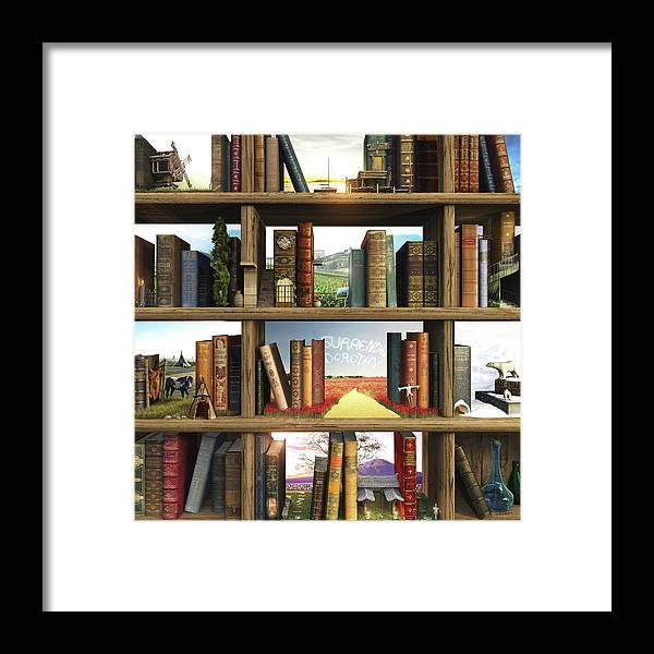 Books Framed Print featuring the digital art Storyworld by Cynthia Decker