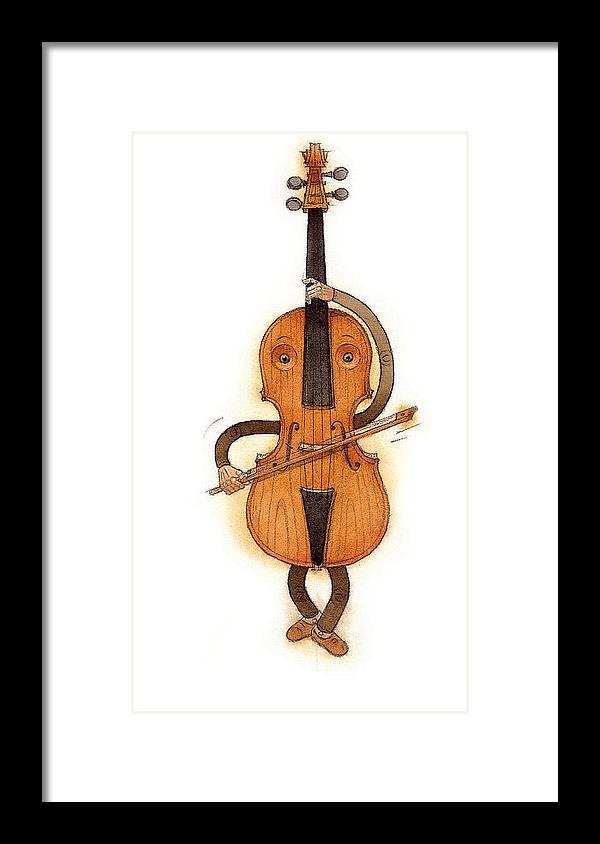Violin Music Baroque Classical Framed Print featuring the painting Stradivarius Violin by Kestutis Kasparavicius
