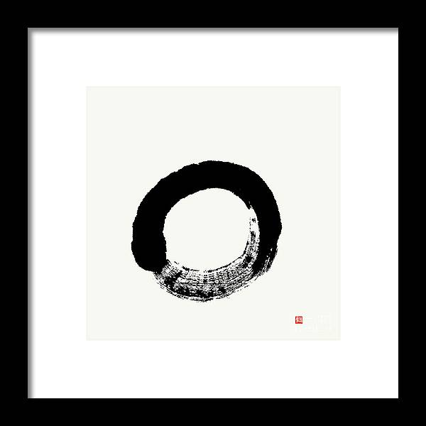 Enso Framed Print featuring the painting Straightforward Zen Enso by Nadja Van Ghelue