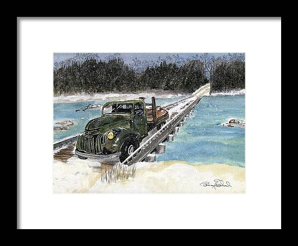 Landscape Framed Print featuring the painting Stranded On Rockford Bridge by Penny Everhart