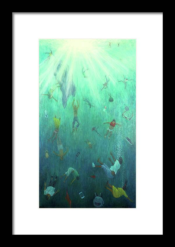 Green Framed Print featuring the painting Strange Fish by Tilly Willis