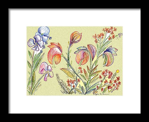 Orchids Framed Print featuring the digital art Strange Orchid Drawing by Julie Richman