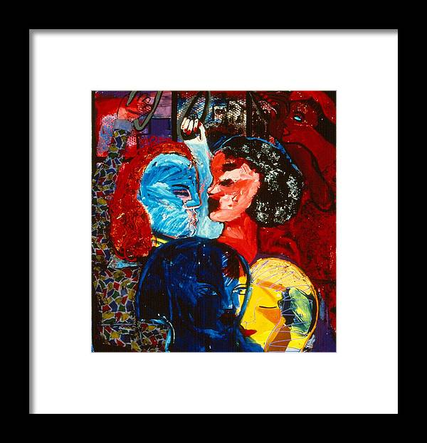 City People Crowded Together In Nyc Subway Framed Print featuring the painting Straphanger Strangers by Nina Talbot