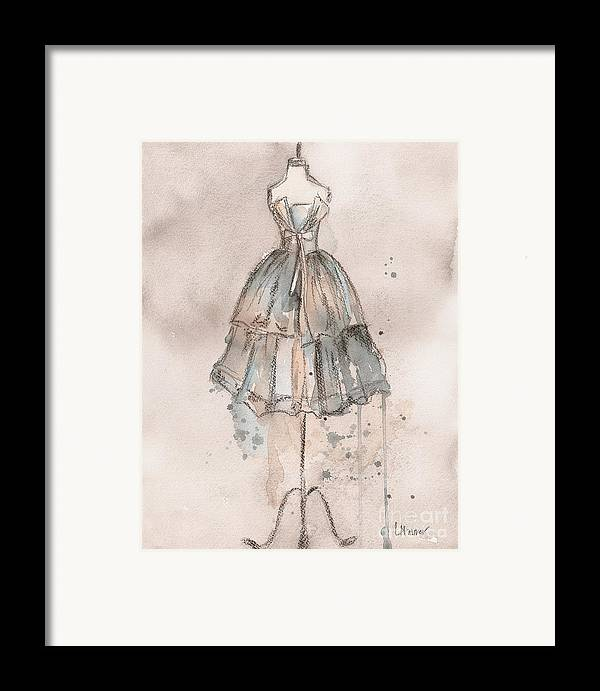 Vintage Dress Framed Print featuring the painting Strapless Champagne Dress by Lauren Maurer