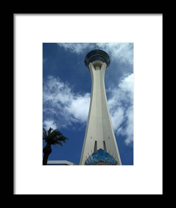 Stratosphere Tower Framed Print featuring the photograph Stratosphere Tower by Anita Burgermeister
