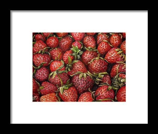 Garden Framed Print featuring the painting Strawberries -2 contemporary oil painting by Natalja Picugina
