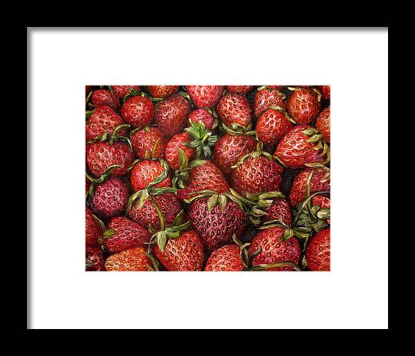 Strawberries Framed Print featuring the painting Strawberries -2 Contemporary Oil Painting by Natalja Picugina