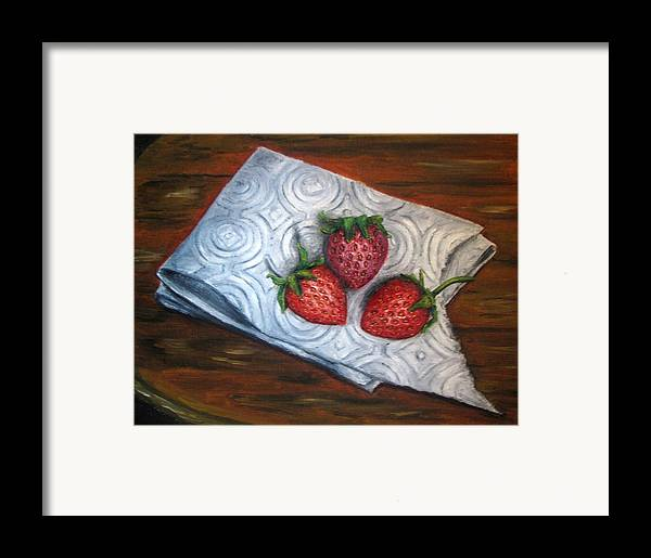 Strawberries Framed Print featuring the painting Strawberries-3 Contemporary Oil Painting by Natalja Picugina