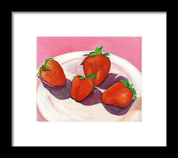 Food Framed Print featuring the painting Strawberries and Cream by Helena Tiainen