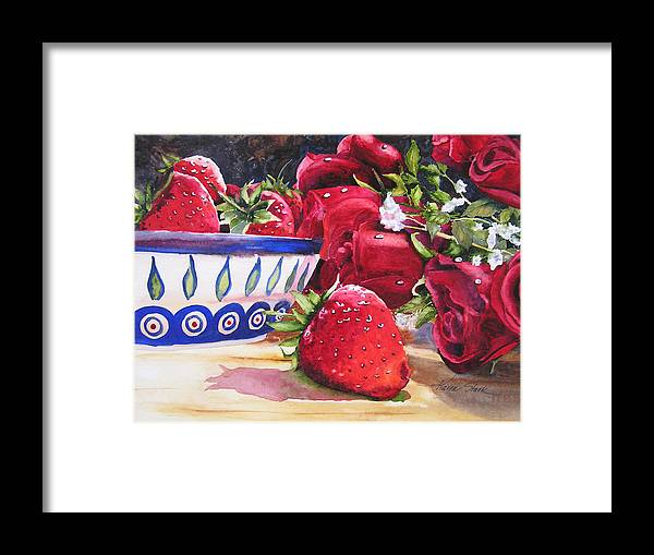 Strawberries Framed Print featuring the painting Strawberries And Roses by Karen Stark