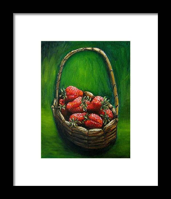 Strawberries Framed Print featuring the painting Strawberries Contemporary Oil Painting by Natalja Picugina
