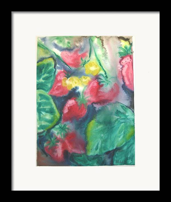 Garden Framed Print featuring the painting Strawberries by Dodd Holsapple