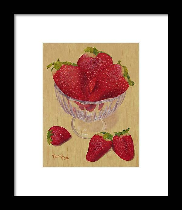 Strawberry Framed Print featuring the painting Strawberries In Crystal Dish by Nancy Nale